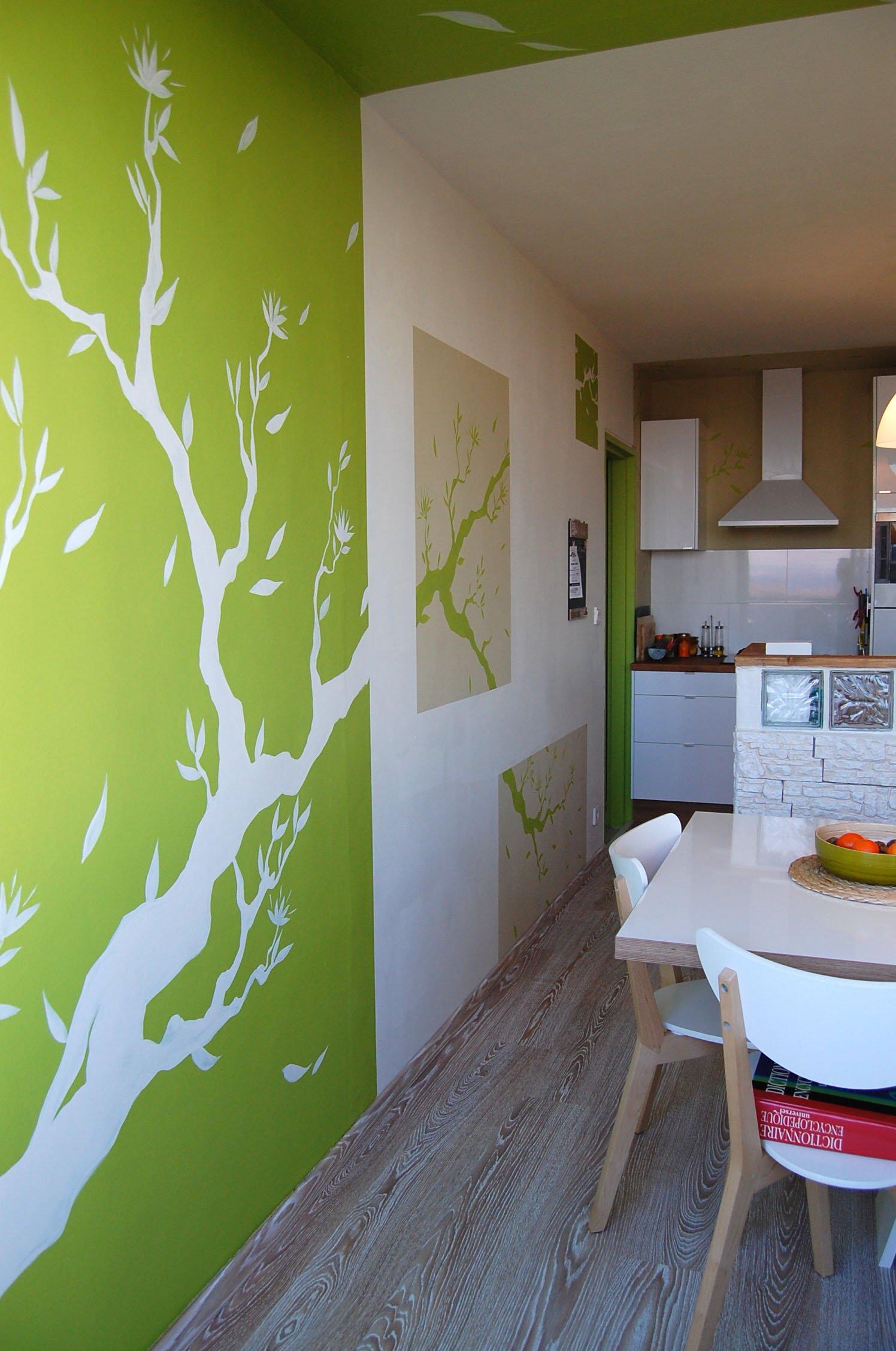 Cuisine design dessin sur mur atelier mur 39 mur for Dessin mur salon