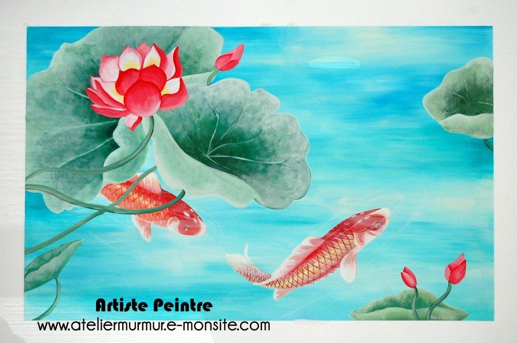 fresque-carpe-nenuphar-ambiance-asiatique-1024x680