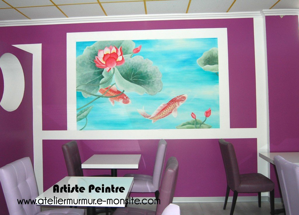 fresque-carpe-nenuphar-ambiance-asiatique-restaurant2-1024x736